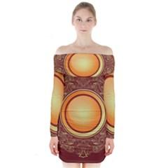 Badge Gilding Sun Red Oriental Long Sleeve Off Shoulder Dress