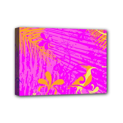 Spring Tropical Floral Palm Bird Mini Canvas 7  X 5