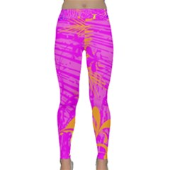 Spring Tropical Floral Palm Bird Classic Yoga Leggings