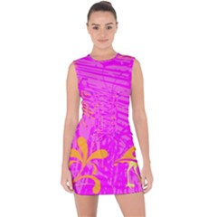 Spring Tropical Floral Palm Bird Lace Up Front Bodycon Dress