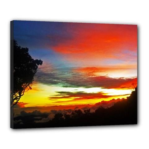 Sunset Mountain Indonesia Adventure Canvas 20  X 16