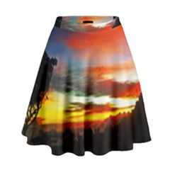 Sunset Mountain Indonesia Adventure High Waist Skirt