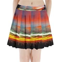 Sunset Mountain Indonesia Adventure Pleated Mini Skirt