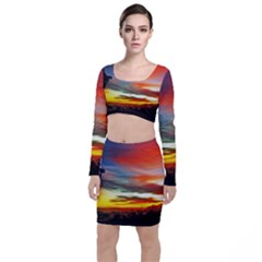 Sunset Mountain Indonesia Adventure Long Sleeve Crop Top & Bodycon Skirt Set