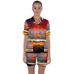 Sunset Mountain Indonesia Adventure Satin Short Sleeve Pyjamas Set
