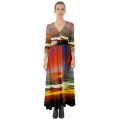 Sunset Mountain Indonesia Adventure Button Up Boho Maxi Dress