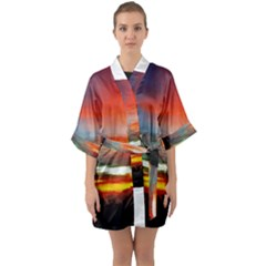 Sunset Mountain Indonesia Adventure Quarter Sleeve Kimono Robe