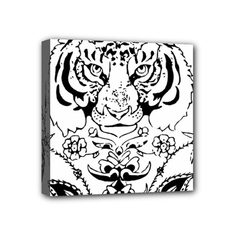 Tiger Animal Decoration Flower Mini Canvas 4  X 4