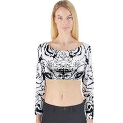 Tiger Animal Decoration Flower Long Sleeve Crop Top