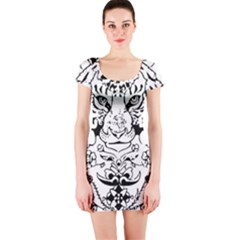 Tiger Animal Decoration Flower Short Sleeve Bodycon Dress