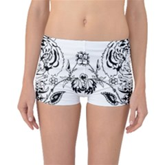 Tiger Animal Decoration Flower Boyleg Bikini Bottoms