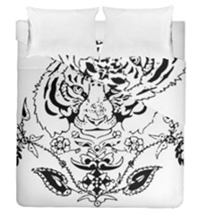 Tiger Animal Decoration Flower Duvet Cover Double Side (queen Size)