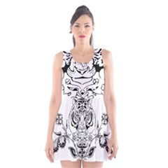 Tiger Animal Decoration Flower Scoop Neck Skater Dress