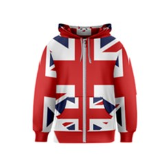Uk Flag United Kingdom Kids  Zipper Hoodie