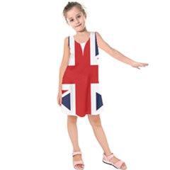 Uk Flag United Kingdom Kids  Sleeveless Dress