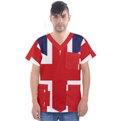 Uk Flag United Kingdom Men s V Neck Scrub Top