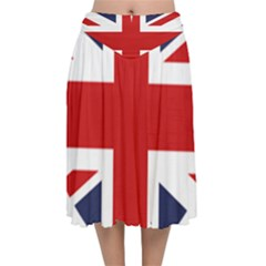 Uk Flag United Kingdom Velvet Flared Midi Skirt