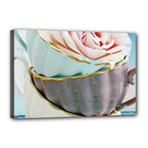 Tea Cups Canvas 18  X 12