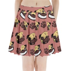 Happy Pugs Pleated Mini Skirt