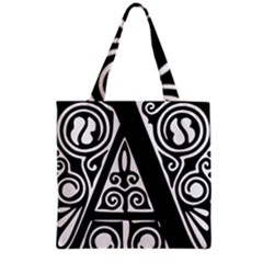 Alphabet Calligraphy Font A Letter Grocery Tote Bag