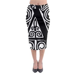 Alphabet Calligraphy Font A Letter Midi Pencil Skirt