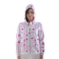 Arrows Girly Pink Cute Decorative Hooded Wind Breaker (women)