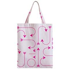 Arrows Girly Pink Cute Decorative Zipper Classic Tote Bag