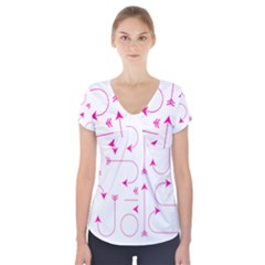Arrows Girly Pink Cute Decorative Short Sleeve Front Detail Top