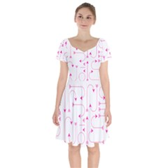 Arrows Girly Pink Cute Decorative Short Sleeve Bardot Dress