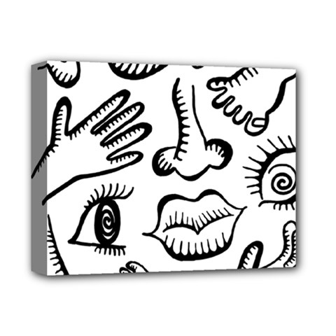 Anatomy Icons Shapes Ear Lips Deluxe Canvas 14  X 11
