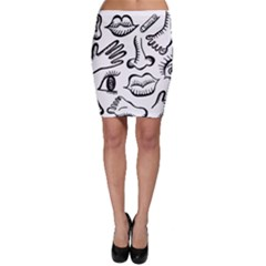 Anatomy Icons Shapes Ear Lips Bodycon Skirt