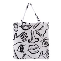 Anatomy Icons Shapes Ear Lips Grocery Tote Bag