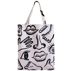 Anatomy Icons Shapes Ear Lips Zipper Classic Tote Bag