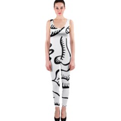 Anatomy Icons Shapes Ear Lips Onepiece Catsuit