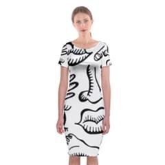 Anatomy Icons Shapes Ear Lips Classic Short Sleeve Midi Dress