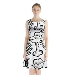 Anatomy Icons Shapes Ear Lips Sleeveless Waist Tie Chiffon Dress