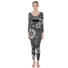 Floral Pattern Floral Background Long Sleeve Catsuit
