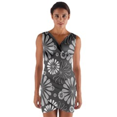 Floral Pattern Floral Background Wrap Front Bodycon Dress