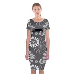 Floral Pattern Floral Background Classic Short Sleeve Midi Dress