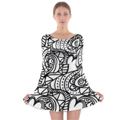 Seamless Tile Background Abstract Long Sleeve Skater Dress