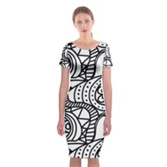 Seamless Tile Background Abstract Classic Short Sleeve Midi Dress