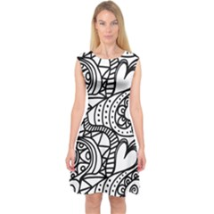 Seamless Tile Background Abstract Capsleeve Midi Dress