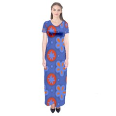 Seamless Tile Repeat Pattern Short Sleeve Maxi Dress