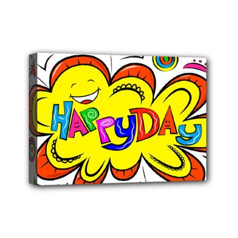 Happy Happiness Child Smile Joy Mini Canvas 7  X 5
