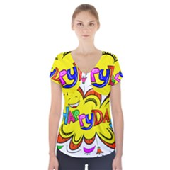 Happy Happiness Child Smile Joy Short Sleeve Front Detail Top