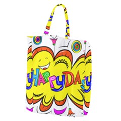 Happy Happiness Child Smile Joy Giant Grocery Zipper Tote