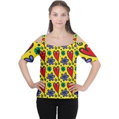 Seamless Tile Repeat Pattern Cutout Shoulder Tee