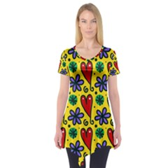 Seamless Tile Repeat Pattern Short Sleeve Tunic