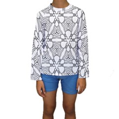 Pattern Design Pretty Cool Art Kids  Long Sleeve Swimwear