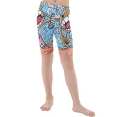 Illustration Characters Comics Draw Kids  Mid Length Swim Shorts